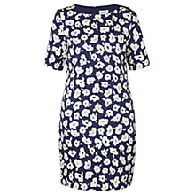 Buy Jigsaw Silk Blend Graphic Poppy T-Shirt Dress, Navy Online at johnlewis.com