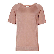 Buy Reiss Tessie Cropped Lurex Top, Pink Online at johnlewis.com