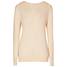 Buy Reiss Nessa Laser Cut Jumper, Pearl Online at johnlewis.com