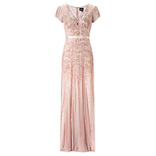 Buy Adrianna Papell Wedding Long Beaded Cap Sleeve Dress, Blush Online at johnlewis.com