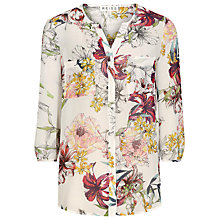 Buy Reiss Tiffany Printed Silk Top, Sugar Online at johnlewis.com