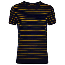 Buy Jaeger Gostwyck Wool Striped Top, Navy / Gold Online at johnlewis.com
