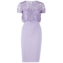 Buy Gina Bacconi Crepe Dress With Guipure Over Top, Violet Online at johnlewis.com