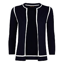 Buy Jaeger Gostwyck Wool Tipped Cardigan, Navy / Ivory Online at johnlewis.com