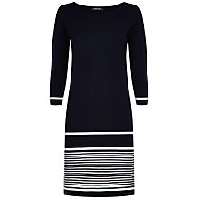 Buy Jaeger Wool Striped Knit Dress, Navy / White Online at johnlewis.com