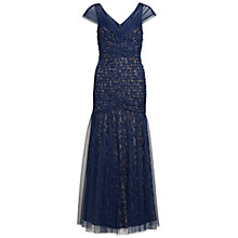 Buy Gina Bacconi Long Mesh Fishtail Dress, Navy Online at johnlewis.com
