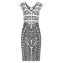 Buy Reiss Faith Aztec Bodycon Dress, White/Black Online at johnlewis.com