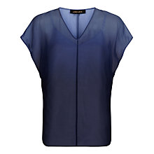 Buy Jaeger Silk Dip Dye V-Neck Top, Blue Online at johnlewis.com