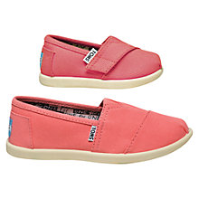 Buy TOMS Children's Tiny Classic Shoes, Pink/White Online at johnlewis.com