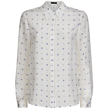 Buy Jaeger Silk Ditsy Print Blouse, Ivory / Blue Online at johnlewis.com
