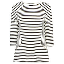 Buy Warehouse Striped Zip Detail Top, White Online at johnlewis.com