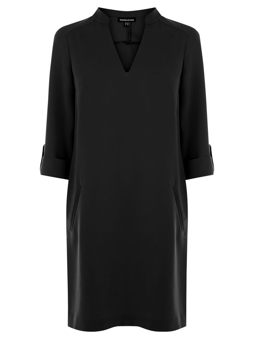 warehouse roll cuff shirt dress black, warehouse, roll, cuff, shirt, dress, black, 6|12|18|16|14|10|8, women, womens dresses, 1859285
