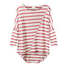 Buy East Stripe Linen Blend Top, Blush Online at johnlewis.com
