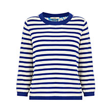 Buy Oasis Daisy Stripe Woven Back Top, Blue Online at johnlewis.com