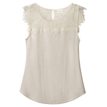 Buy East Linen Short Sleeve Lace Top Online at johnlewis.com
