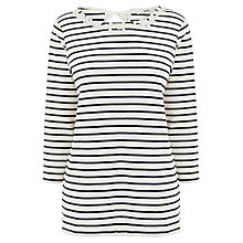 Buy Oasis Daisy Trim Stripe Sweater, Off White Online at johnlewis.com