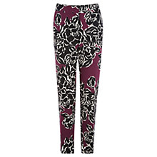 Buy Warehouse Graphic Rose Print Trousers, Purple Online at johnlewis.com