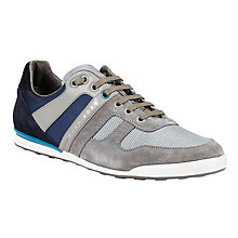 Buy BOSS Akeen Textile and Suede Trainers, Grey Online at johnlewis.com