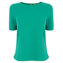 Buy Oasis Daisy Jacquard Boxy Tee, Mid Green Online at johnlewis.com