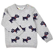 Buy John Lewis Baby Scottie Dog Jumper, Grey Online at johnlewis.com