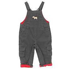 Buy John Lewis Baby Dog Applique Cord Dungarees, Grey Online at johnlewis.com