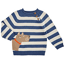 Buy John Lewis Baby Scotty Dog Piecrust Jumper, Blue/Cream Online at johnlewis.com