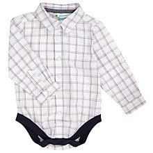 Buy John Lewis Baby Window Check Shirt Bodysuit, White/Multi Online at johnlewis.com