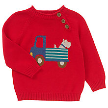 Buy John Lewis Baby's Truck Dog Piecrust Jumper, Red Online at johnlewis.com