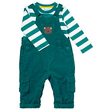 Buy John Lewis Baby's Bear Cord Dungaree Set, Green Online at johnlewis.com