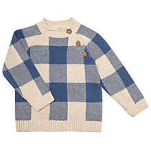 Buy John Lewis Baby Piecrust Jumper, Blue/Cream Online at johnlewis.com