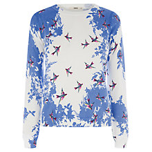 Buy Oasis Placement Print Cropped Jumper, Mid Blue Online at johnlewis.com