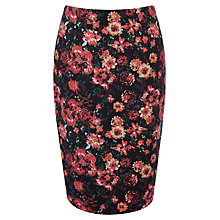 Buy Oasis Textured Rose Print Pencil Skirt, Multi Online at johnlewis.com