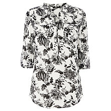 Buy Oasis Engraved Floral Paisley Shirt, Black / White Online at johnlewis.com