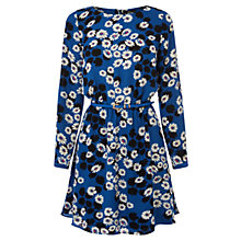 Buy Oasis Daisy Shadow Skater Dress, Mid Blue Online at johnlewis.com