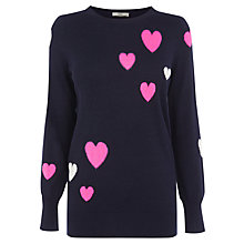 Buy Oasis Heart Intarsia Jumper,  Navy Online at johnlewis.com