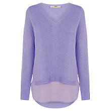 Buy Oasis Woven Hem V-Neck Jumper Online at johnlewis.com