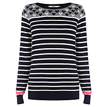 Buy Oasis Heart Detail Breton Jumper, Navy Online at johnlewis.com