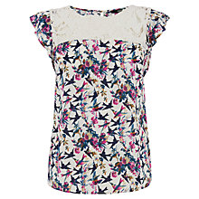 Buy Oasis Lace Trim Bloom T-Shirt, Multi Online at johnlewis.com