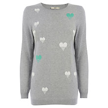 Buy Oasis Heart Dot Intarsia Jumper, Mid Grey Online at johnlewis.com