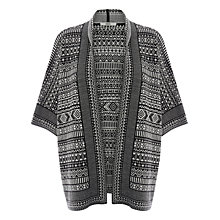 Buy Oasis Geo Print Kimono Cardigan, Black/White Online at johnlewis.com