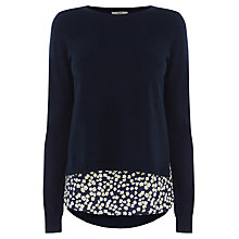 Buy Oasis Daisy Shirt Tails Top, Navy Online at johnlewis.com