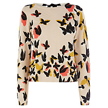 Buy Oasis Butterfly Print Jumper, Mid Neutral Online at johnlewis.com