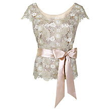 Buy Jacques Vert Tri-Colour Lace Top, Champagne Online at johnlewis.com