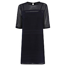 Buy Warehouse Stripe Lace Tunic Dress, Navy Online at johnlewis.com