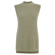 Buy Warehouse Side Split Tabard Jumper, Khaki Online at johnlewis.com