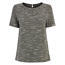 Buy Warehouse Embellished Textured Top, Black Online at johnlewis.com