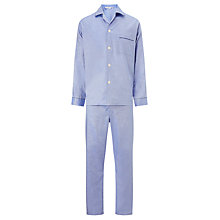 Buy Derek Rose Plain Piped Woven Cotton Pyjamas, Blue Online at johnlewis.com