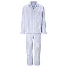 Buy Derek Rose Herringbone Stripe Brushed Cotton Pyjamas, Blue Online at johnlewis.com