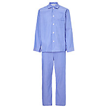 Buy Derek Rose Clean Stripe Woven Cotton Pyjamas, Blue Online at johnlewis.com