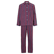 Buy Derek Rose Stripe Satin Pyjamas, Navy/Red Online at johnlewis.com
